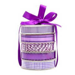 American Crafts Premium Ribbon Spool, Bakers Twine & Satin 5 pack - Purple and White.