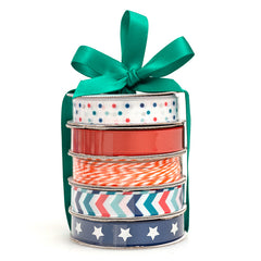 American Crafts Premium Ribbon Spool, Bakers Twine & Satin 5 pack - Patriotic.