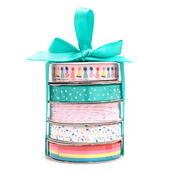 American Crafts Premium Ribbon Spool, Bakers Twine and Satin 5 pack - Birthday