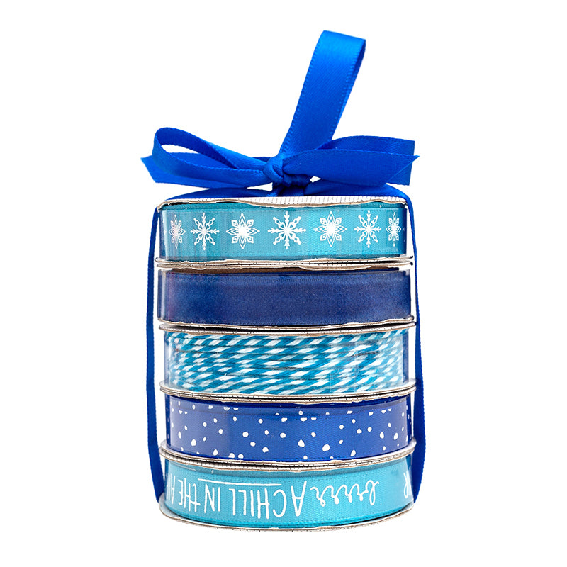 American Crafts Premium Ribbon Spool, Bakers Twine & Satin 5 pack - Winter Blue