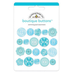 Doodlebug - Boutique Buttons 20 pack - Swimming Pool