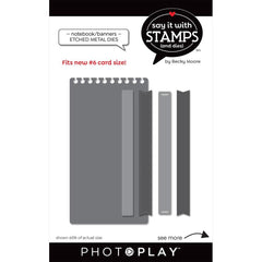 PhotoPlay Say It With Stamps Die Set - #6 Notebook/Banner