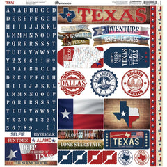 "Reminisce Alpha Cardstock Stickers 12""x 12"" Texas"