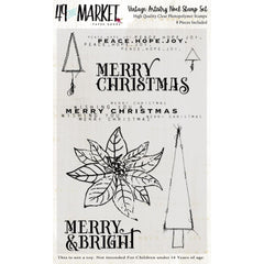 49 And Market Clear Stamps 4in x 6in - Vintage Artistry Noel