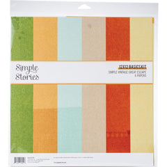 Simple Stories Basics Double-Sided Paper Pack 12in x 12in  6 pack  Simple Vintage Great Escape
