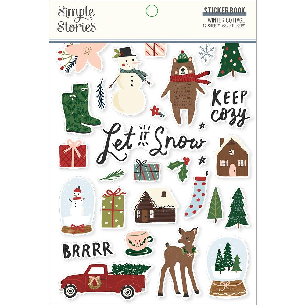 Simple Stories Sticker Book 12/Sheets - Winter Cottage, 682 pack