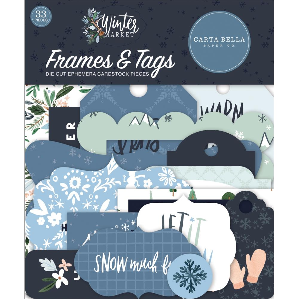 Carta Bella Cardstock Ephemera 33 pack - Frames & Tags, Winter Market