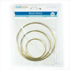 "Multicraft Imports - Brass Rings 3/Pkg 2"", 3"" & 4"""