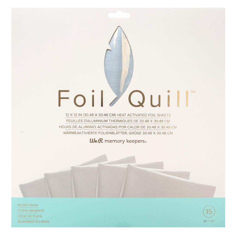 We R Memory Keepers - Foil Quill 12inX12in Foil Sheets 15 per package - Silver Swan