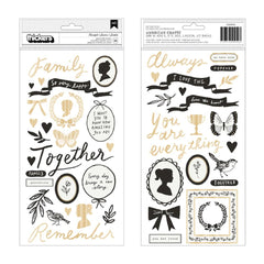 Crate Paper - Maggie Holmes Heritage Collection - Puffy Phrase & Icon Thickers 56 Pk- Heartfelt w Gold Foil