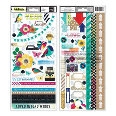 American Crafts - Colour Kaleidoscope Collection - Cardstock Stickers with Foil Accents - Accents and Phrases