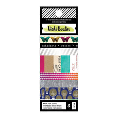 American Crafts - Vicki Boutin Colour Kaleidoscope Washi Tape 8 per pack - Silver Holographic Foil Accents