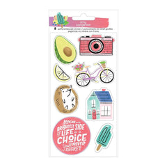 American Crafts - Amy Tan Stay Sweet Stickers 8 per pack - Embossed Icons