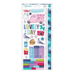 American Crafts - Shimelle Sparkle City Collection - Cardstock Stickers with Foil Accents - Accent and Phrase