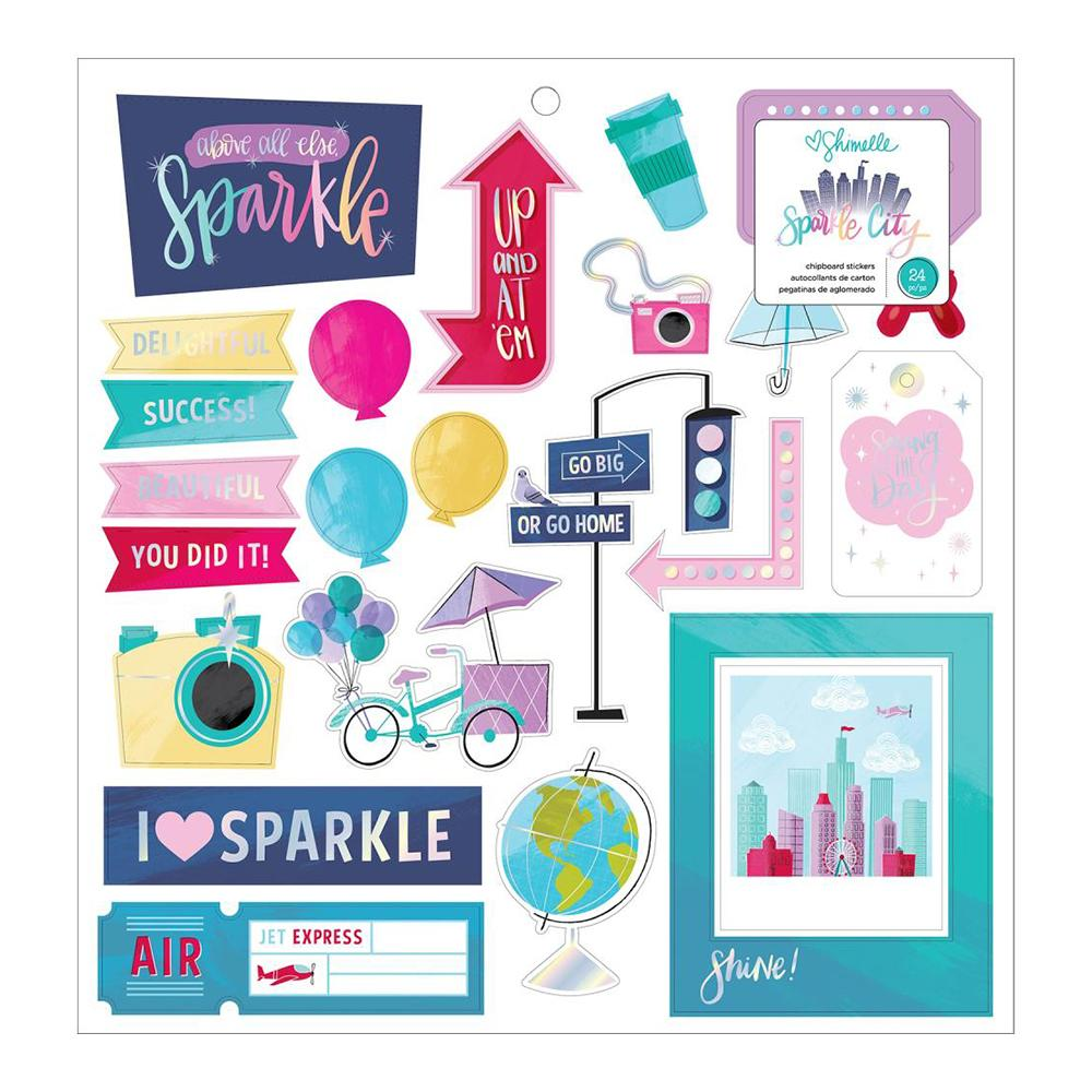 American Crafts - Shimelle Sparkle City Collection - Chipboard Stickers with Foil Accents