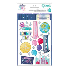American Crafts - Shimelle Sparkle City Collection - Sticker and Washi Book with Foil Accents