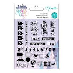 American Crafts - Shimelle Sparkle City Collection - Clear Acrylic Stamps