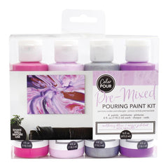 American Crafts Colour Pour Pre-Mixed Paint Kit 4 pack - Mulberry Bliss