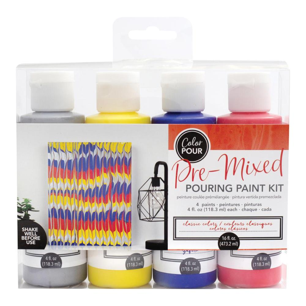 American Crafts Colour Pour Pre-Mixed Paint Kit 4 pack - Classic Colour