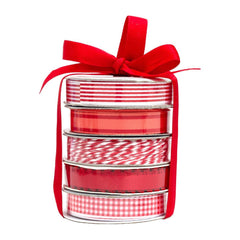 American Crafts Premium Ribbon Spool, Bakers Twine & Satin 5/Pkg Red and White.