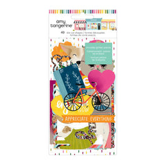 American Crafts - Amy Tan Slice Of Life Collection - Ephemera Pack With Glitter Accents