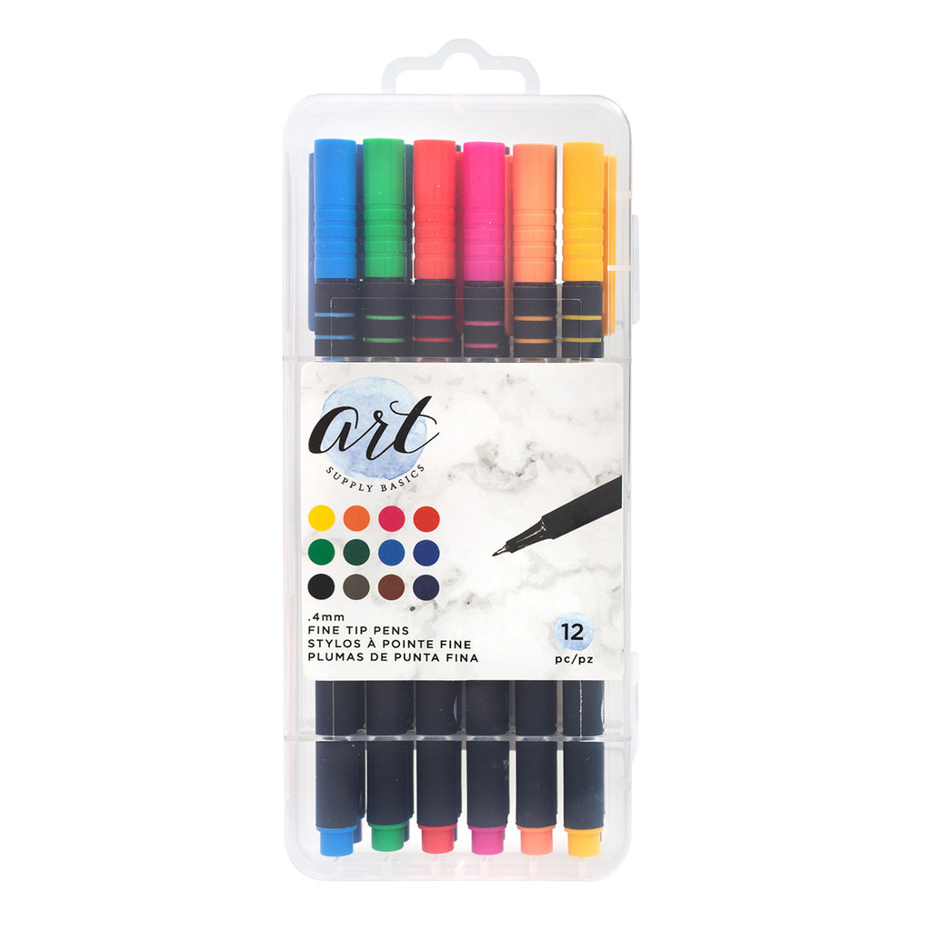 American Crafts - Art Supply Basics Collection - Fine Tip Pens - 12 Pieces