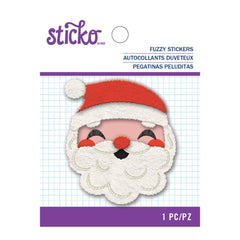 Sticko Fuzzy Stickers - Embroidered Santa Face