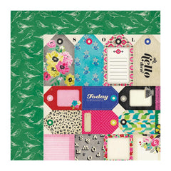 American Crafts - Crate Paper - On Trend Collection - 12 x 12 Double Sided Paper - Tag Cuts