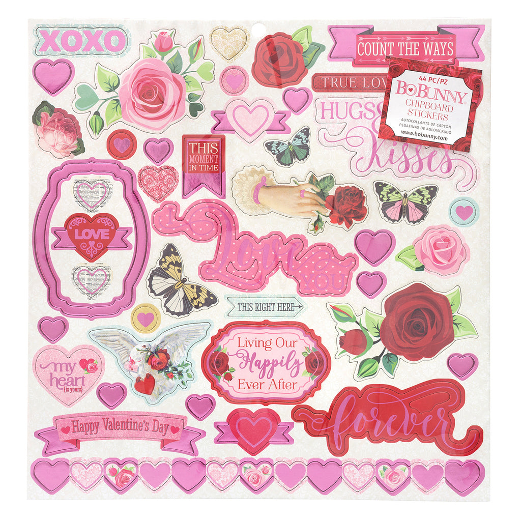 BoBunny - Count The Ways Chipboard Stickers - Pink oil