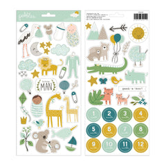 Pebbles - Peek-A-Boo You - Cardstock Stickers - Icons, Boy with Glitter Accents