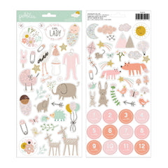 Pebbles - Peek-A-Boo You - Cardstock Stickers - Icons, Girl with Glitter Accents