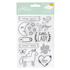 Pebbles - Peek-A-Boo You Clear Stamps - Girl