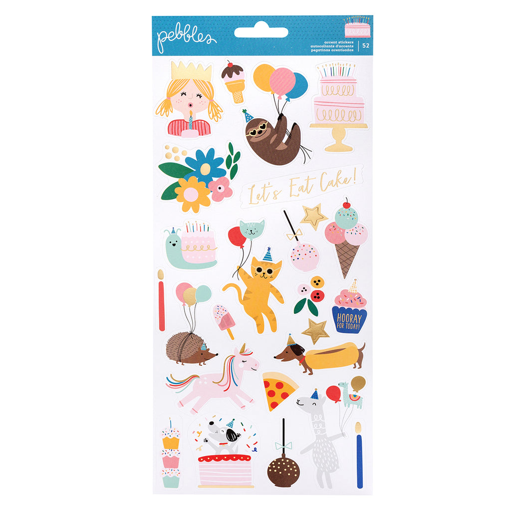 Pebbles - Happy Cake Day Collection - Cardstock Stickers with Foil Accents