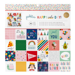Pebbles - Happy Cake Day Collection - 12 x 12 Paper Pad with Foil Accents