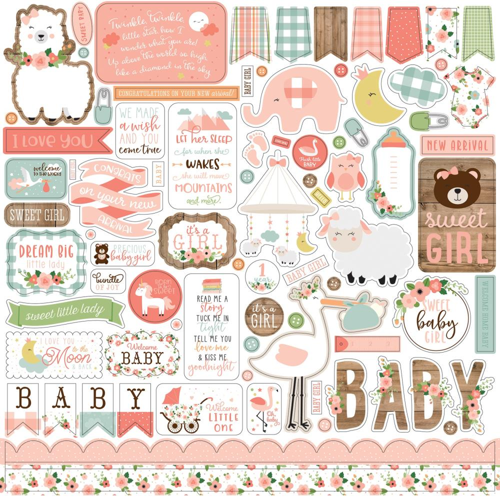 Echo Park Baby Girl Cardstock Stickers 12in x 12in - Elements