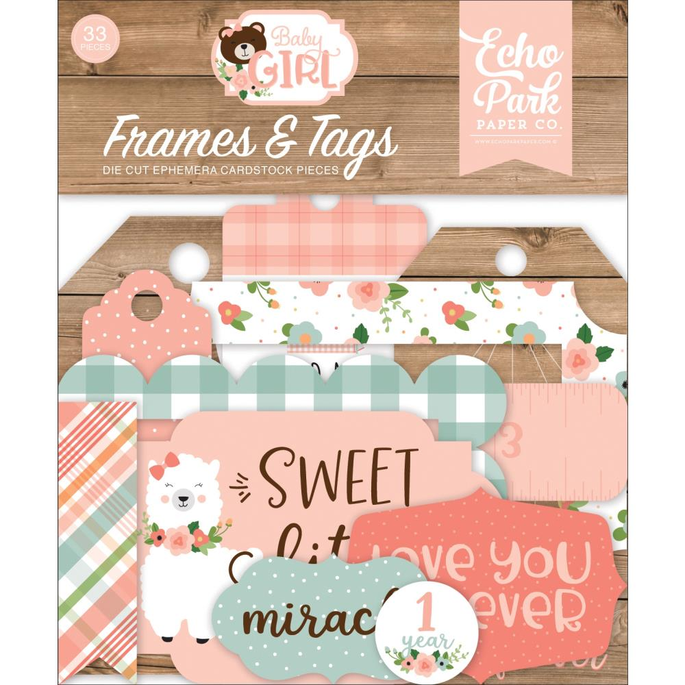 Echo Park Cardstock Ephemera 33 pack - Frames & Tags, Baby Girl