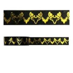 Amazing Value Christmas Foil Washi Tape - Black With Gold Reindeers Design