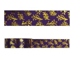 Amazing Value Christmas Foil Washi Tape - Purple With Gold Leaves Design