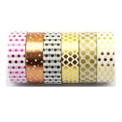 Amazing Value Foil Washi Tape - 6 Rolls Of Assorted Foil Designs Including Dots And Patterns In Assorted Colours.