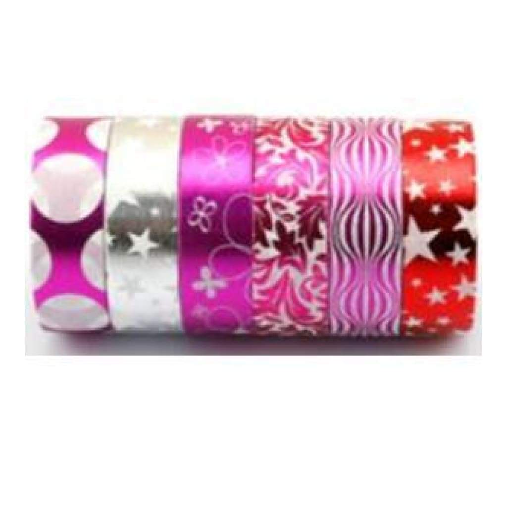 Amazing Value Foil Washi Tape - 6 Rolls Of Assorted Foil Designs Including Pinksred And Silver Designs