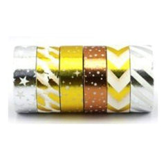 Amazing Value Foil Washi Tape - 6 Rolls Of Assorted Foil Designs Including Stars chevrons stripes And More