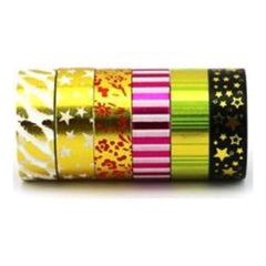 Amazing Value Foil Washi Tape - 6 Rolls Of Assorted Foil Designs Including Starsstripes And Patterned Designs