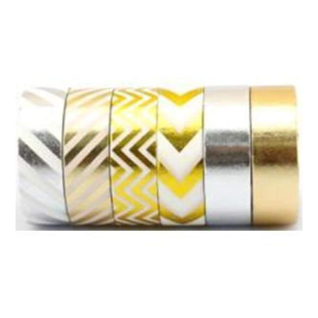 Amazing Value Foil Washi Tape - 6 Rolls Of Assorted Foil Designs Including Stripes chevrons plain Gold & Silver