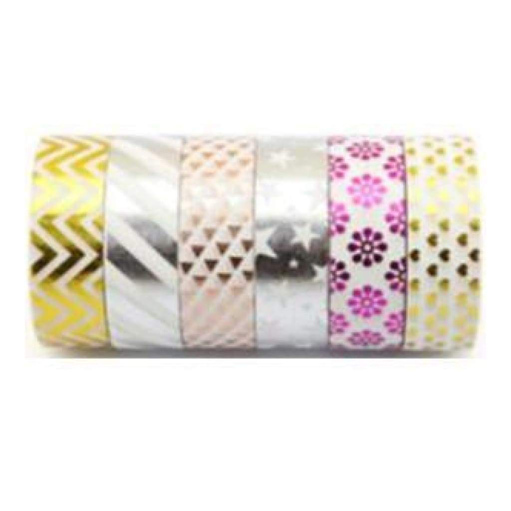 Amazing Value Foil Washi Tape - 6 Rolls Of Assorted Foil Designs Including Stripesflowersstars And More