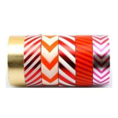 Amazing Value Foil Washi Tape - 6 Rolls Of Assorted Foil & Paper Designs Including Plain striped & Chevron Designs