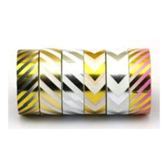 Amazing Value Foil Washi Tape - 6 Rolls Of Assorted Foil Striped And Chevron Designs