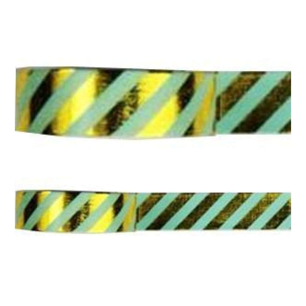 Amazing Value Foil Washi Tape - Green With Metallic Foil Gold Stripe Design