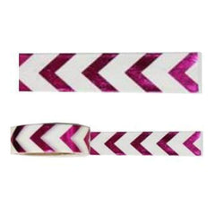 Amazing Value Foil Washi Tape - Metallic Hot Pink With White Chevron Design