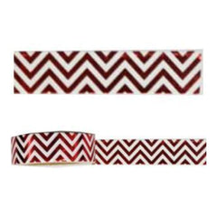 Amazing Value Foil Washi Tape - Metallic Red With White Zigzag Design