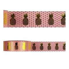 Amazing Value Foil Washi Tape - Pink Dots With Gold Foil Pineapples Design